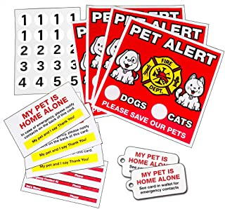 Superclings (4) Pet Alert Static Cling Decal Stickers for Inside of Window No Glue