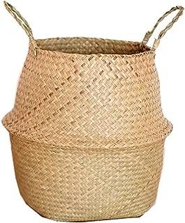 Seagrass Wickerwork Basket Rattan Hanging Flower Pot Dirty Laundry Hamper Storage Basket Dropshipping,S