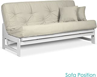 Arden White Futon Set Queen Size - Armless Futon Frame with Mattress Included (Twill Ivory), More Mattress Colors & Sizes Available, Space Saving Modern Sofa Bed Sleeper