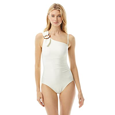 Kate Spade New York Textured Solids Buckle One Shoulder One-Piece