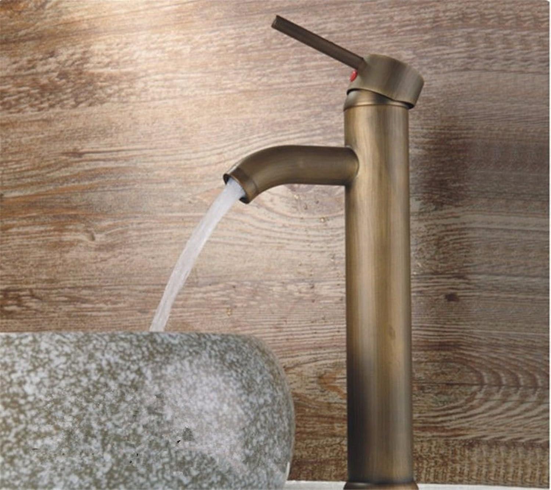 Moderne einfache kupferne heie und kalte Spülbecken Wasserhhne Küchenarmatur Antikes Einloch-Einhand-Hei- und Kaltwasser-Keramikventil-Waschtischmischer Geeignet für alle Badezimmer-Spülbecken