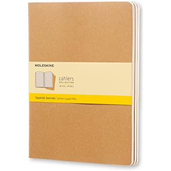 "Moleskine Cahier Journal, Soft Cover, XL (7.5"" x 9.5"") Squared/Grid, Kraft Brown, 120 Pages (Set of 3)"
