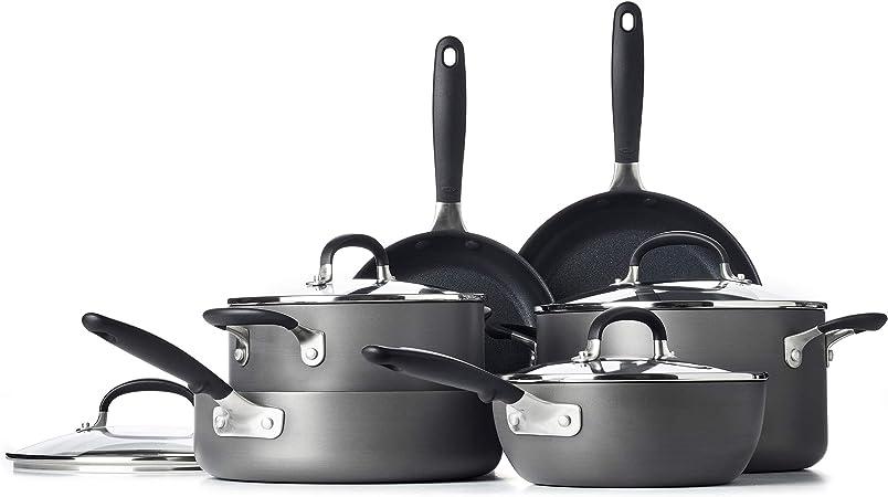 OXO Good Grips Nonstick Black Cookware Pots and Pans Set, 10 Piece