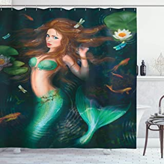 Ambesonne Underwater Shower Curtain, Fantasy Mermaid in Lake with Lilies Blossom Plants Leaves, Cloth Fabric Bathroom Decor Set with Hooks, 84