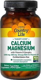 Country Life Target-Mins Calcium Magnesium w/ Vitamin D - 360 Vegan Capsules - Formulated To Maximize Calcium Absorption