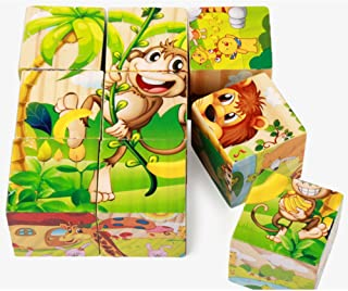 Honmofun Block Puzzles for Toddlers Block Puzzle Block Puzzles for Kids Animal Wooden Cube Block Animal Jigsaws 3D Puzzle Wooden Jigsaw Six Sides Cube Puzzle for Kids Toddlers Preschool Age