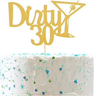 Dirty 30 Cake Topper and Champagne Glass - Cheer to 30 Years Cake Topper -Gold Glitter Hello 30-30th Birthday/Wedding Anniversary Party Decoration