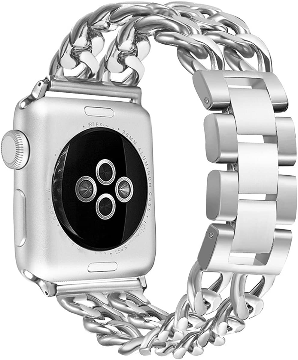 Secbolt Bands Compatible with Apple Watch 38mm 40mm 41mm 42mm 44mm 45mm iWatch SE Series 7 6 5 4 3 2 1 Stainless Steel Chain Links Replacement Strap