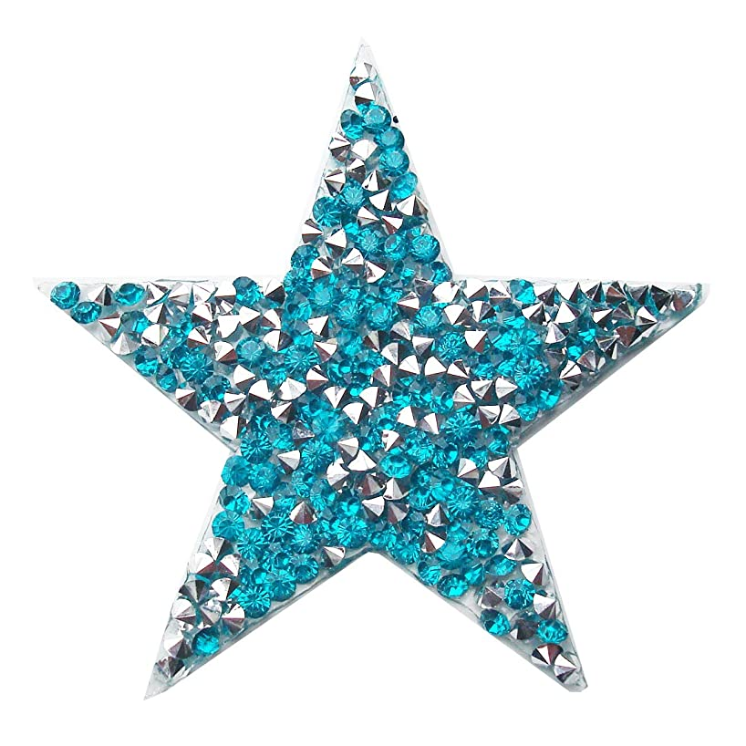 Star Patches Embroidered Sticker Rhinestone Iron On Badge,Crystal Applique Pack of 5 Pieces (Peacock Blue)