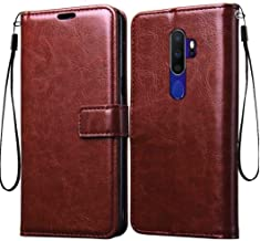 Tingtong Vintage Leather Flip Cover Case for Oppo A5 2020 / A9 2020 | Inner TPU | Foldable Stand | Wallet Card Slots - Walnut Brown