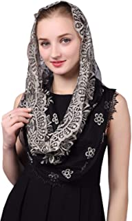 Black & Gold Embroidered Infinity Veil Traditional Vintage Inspired Wrap Veil Mantilla
