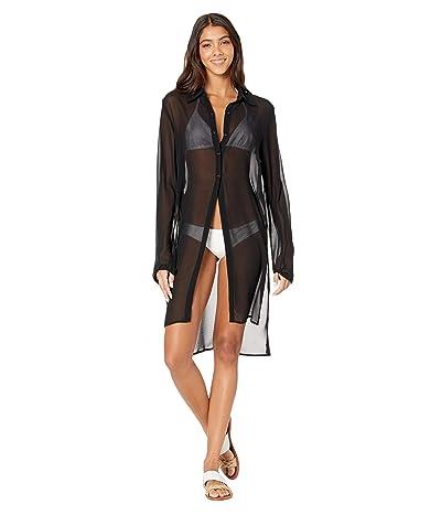 Carmen Marc Valvo Long Shirt Cover-Up w/ Tie Front Detail (Black) Women