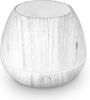 LEMON Mini Cool Mist Air Humidifier Ultrasonic Aroma Essential Oils Diffuser with Multiple Lighting Options, White Wood Grain, 150 ml