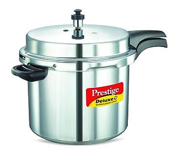 Prestige Deluxe Plus Induction Base Aluminium Pressure Cooker, 10 Litres