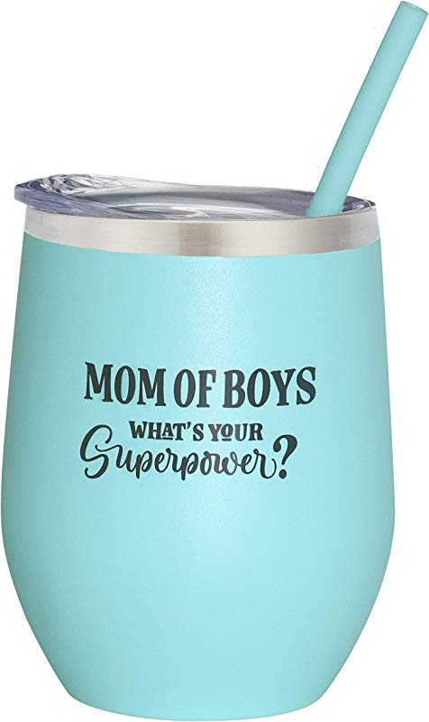 Mom Of Boys 12 Oz Mint Stainless Steel Vacuum Insulated Wine Tumbler With Lid And Straw ENGRAVED Boy Mom Wine Glass Birthday Christmas Mother S Day Valentine S Gift