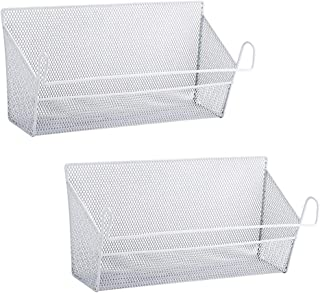RuiyiF 2 Pack Bunk Bed Storage Basket,Dormitory Bedside Storage Baskets Metal Desk Corner Organizer Hanging with Hook for Books Phones Tissues Water Bottle (White)