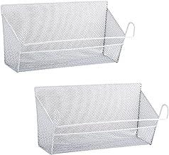 RuiyiF 2 Pack Bunk Bed Storage Basket,Dormitory Bedside Storage Baskets Metal Desk Corner Organizer Hanging with Hook for ...