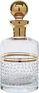 Glazze Crystal Handcrafted Premium Glass Whiskey Decanter and Stopper | Hand Painted 24K Gold Trim Detailing | Hand Cut Raindrops Pattern | Luxurious Gift for Any Occasion | 9