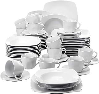 MALACASA, Série Julia, 60pcs Services de Table Complets Porcelaine, 12 Assiettes Plates, 12 Assiettes Creuse à Soupe, 12 A...