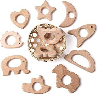 SHIWU 赤ちゃん 歯固め 木製動物 11個入り カミカミ 歯がため おもちゃ がらがら ラトル 授乳 出産祝い ギフト diy ブレスレット おしゃぶりチェーン FDA認可済 (タイプ3)