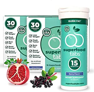Superfood Tabs - Natural Weight Loss Fizzy Drink, 15 Amazing Superfoods, Green Tea, Beetroot, Goji Berry, Sugar Free, Non-GMO, Keto Friendly, Gluten Free, 30 Day Supply, 30 Drinks, Berry Flavor