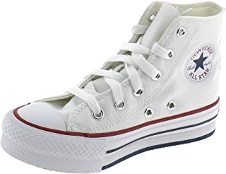 Converse Chuck Taylor All Star EVA Lift Hi Blanc/Bleu (White/Midnight Navy) Toile Ado Formateurs Chaussures