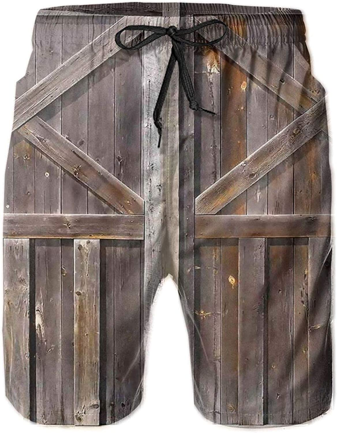 Men's Swim Trunks, Old Wooden Barn Beach Board Shorts Quick Dry with Mesh Lining and Pockets