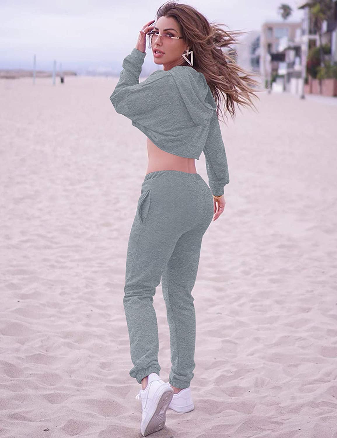 BORIFLORS Womens 2 Piece Outfits Causal Hoodie Sweatshirt and Long Pants Jogger Tracksuit Sweatpants