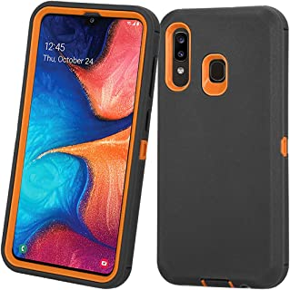 Annymall Samsung Galaxy A20 Case,Galaxy A30 Case,Galaxy A50 Case, Heavy Duty [with Built-in Screen Protector] Shockproof Defender Armor Protective Cover for Samsung Galaxy A20/A30/A50 (Black/Orange)