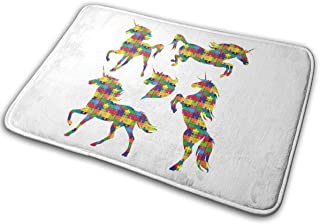 LNUO-2 Indoor Door Mat Unicorn Silhouettes Running Rearing Rug Floor Mats for Pets, Easy Clean