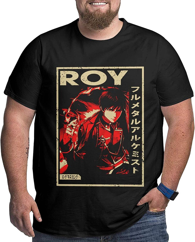 Fullmetal Alchemist Roy Men's Shirt Casual Short Sleeve Plus Size Cotton Tops