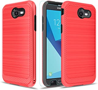 Topamz-Samsung Galaxy j7 2017 Case,Galaxy J7 Sky Pro/ J7 V J7V 2017/ J7 Prime/ J7 Perx Glitter Case,Gradient Quicksand Series [Shock Absorption] Bling Liquid Protective Case (red)