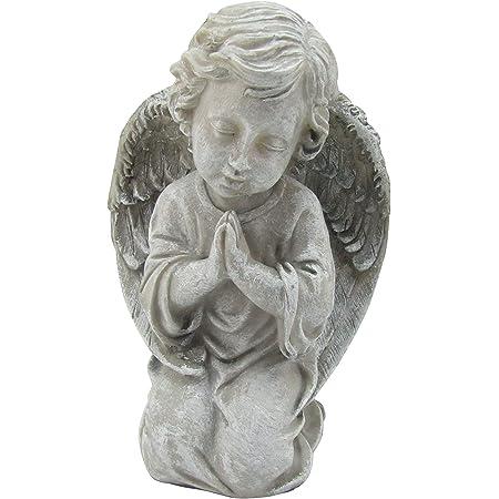 "Comfy Hour Praying Angel Statue Collection, Resin 8"" Cherub Angel Kneeling Praying Figurine, Gray"