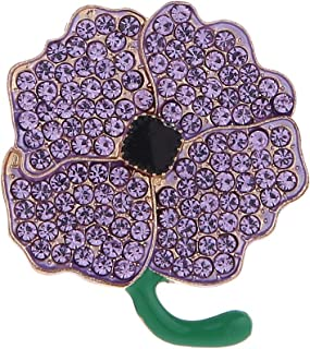 Diamante Purple Crystal Poppy Brooches for Animals Remembrance Day Gifts Jewelry