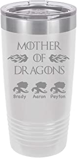 Personalized Mother Of Dragons -20 ounce Double wall vacuum insulated tumbler - Tons of colors by Griffco Supply (White)