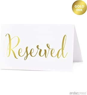 Andaz Press Table Tent Place Cards on Perforated Paper, Metallic Gold Ink, Reserved Collection, 20-Pack, Placecards Table Settings for Catering, Food, Dessert Table Tent Cards, Not Gold Foil