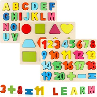 Vomocent Wooden Puzzles for Toddlers, Wooden Alphabet...