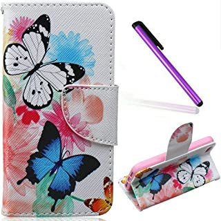 iPhone 5C Case ,EMAXELER Creative Painted PU Leather Case Cover for iPhone 5C,Flip Wallet Case Holder Protective Case with Card Slots and Stand for iPhone 5C--Blue Butterfly