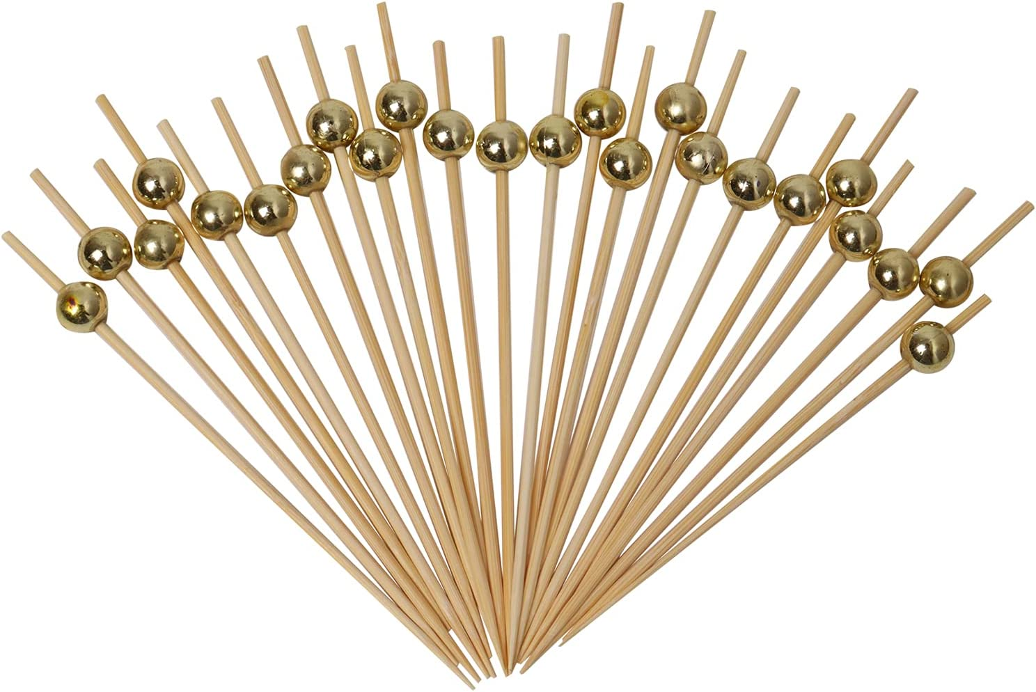 Aqwery 200pcs Disposable Bamboo Cocktail Picks Cocktail Pick Food Appetizer Toothpick 4.7 Inch Fruit Toothpick with Gold Pearl,Party Toothpick for Appetizer and Cocktail Drinks