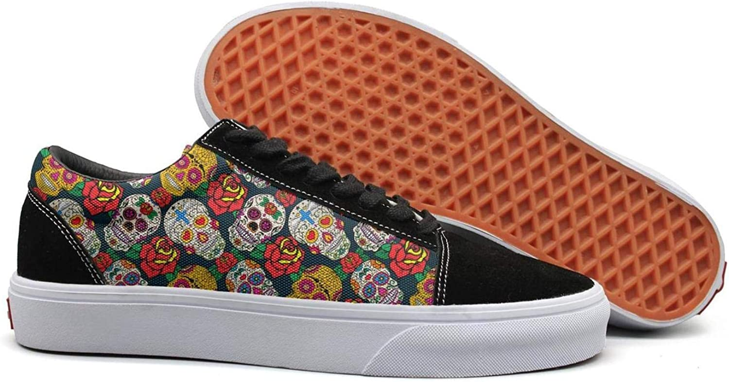 Winging Womens Skull Daisy pink Decor Vintage Suede Canvas shoes Old Skool Sneakers