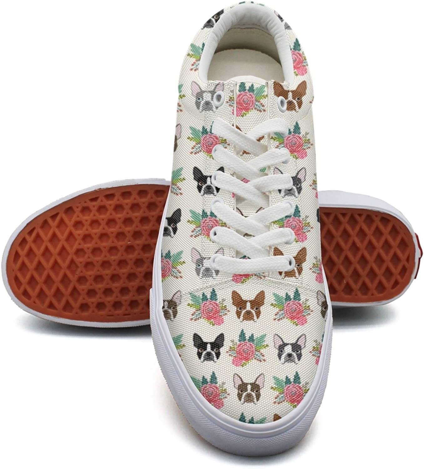 Feenfling Boston Terrier Vintage Flowers Womens Printed Canvas Lace up Dhoes Low Top Cute Sneakers for Woman