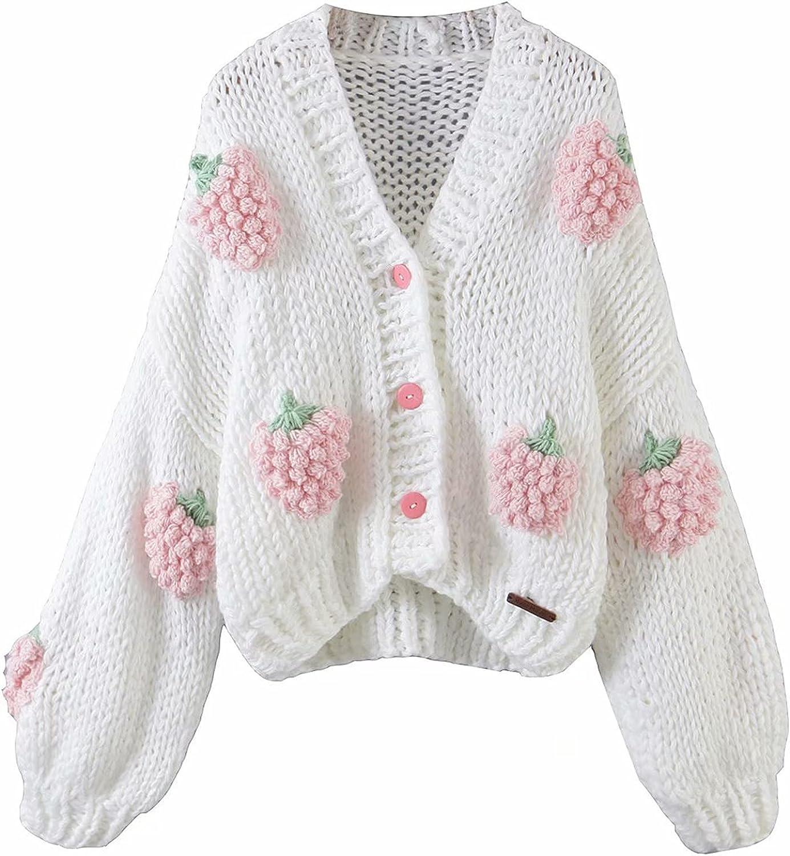 3D Floral Cardigan for Women Y2k Lantern Sleeve Button Sweater Open Front Crop Cardigan Cottagecore Aesthetic Streetwear