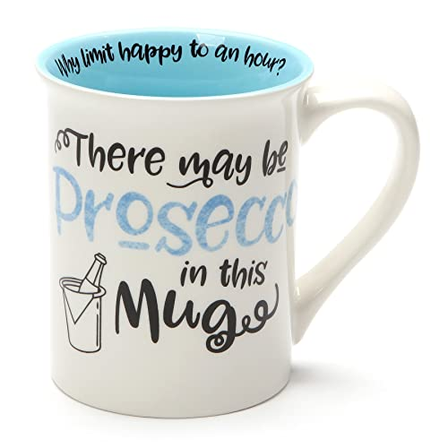 Enesco 6001249 Our Name is Mud May Be Prosecco, 16 Ounce, Blue Stoneware Mug