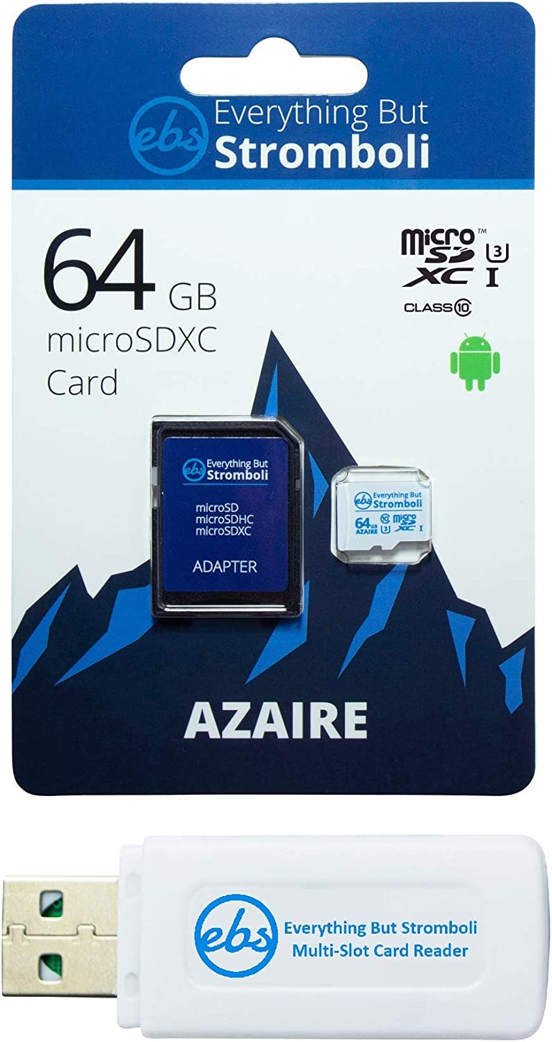 Everything But Stromboli 64GB Azaire MicroSD Memory Card & Adapter Works with Samsung Galaxy Phones Note Series Note 8, Note 9, Note 10+ Speed Class 10, U3, UHS-1, SDXC Plus 1 Micro & SD Card Reader