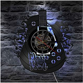 Guitar Styling LED Luminous Vinyl Wall Clock 12 Inch Backlight Night Light Color Change Lamp Clocks Cool Living Room Inter...