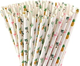 ALINK Hawaiian Tropical Party Paper Straws, Flamingo/Pineapple/Cactus/Coconut Tree Biodegradable Straws for Beach Cocktail Luau Decorations, Pack of 100