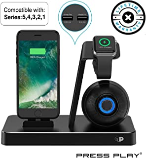 Press Play ONE Dock (Apple Certified) Power Station Dock, Stand & Built-in Lightning Connector for Apple Watch Smart Watch (Series 5, 4, 3, 2, 1, Nike+), iPhone, iPad & iPod (Dock + Speaker (Black)