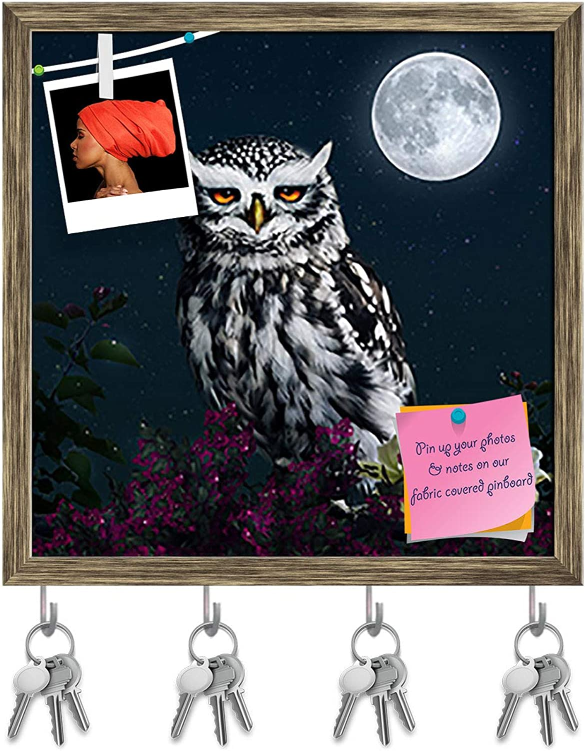 Artzfolio Owl at Night Key Holder Hooks   Notice Pin Board   Antique golden Frame 16 X 16.1Inch