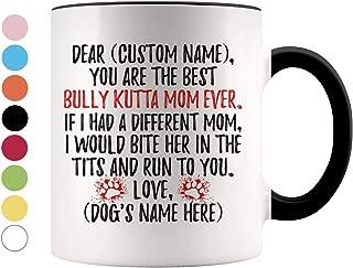 Personalized Bully Kutta Mom Gifts, Indian Mastiff Owner Coffee Mug, Pakistani Mastiff Gifts For Women, Sindh Mastiff Dog Mommy Present Gift (Black & White, 11 oz)