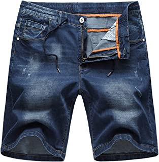 ecf2cedcea SUSIELADY Men's Denim Shorts Pants 5 Pocket Casual Ripped Distressed  Straight Fit Jeans Short for Men